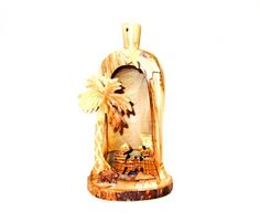 Olive Wood Bell With Nativity (big)