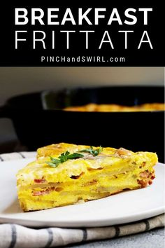 You'll love this easy, healthy Breakfast Frittata! One of my favorite recipes - loaded with potatoes and bacon and topped with melted cheese! #breakfastfrittata #healthybreakfastfrittata #easybreakfastfrittata