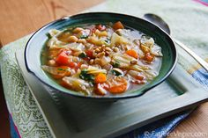 Simple Cabbage and Chickpea Soup with Fresh Basil | recipe from FatFree Vegan Kitchen 4 points