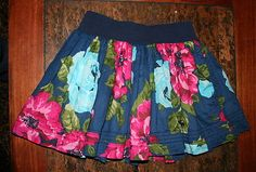 abercrombie kids girl's navy blue and pink floral skirt EUC!! Size XL