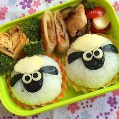 """Kindergartener's sheep kyara (character) bento.""....But looks like a bento yummy enough for big kids too! #Japanese #bento #Japan"