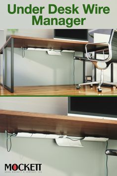 Organize your wires with Mockett's cable managers. Clam shell flaps drop down so you can add more cables to your run, then flip up to hug the underside of the desk and hold cables in place.   #cablemanagement #officedesignideas #officedesign #homeoffice