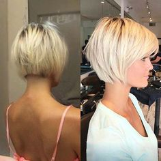 Short hairstyle is always beautiful and never goes out of fashion. That's because asymmetrical cuts look good on all faces and are so easy to care for. Short should not be too much for you. Medium Hair Cuts, Medium Hair Styles, Short Hair Styles, Haircut Medium, Haircut Bob, Short Hair With Layers, Short Hair Cuts For Women, Short Bob With Fringe, Blonde Bob With Fringe