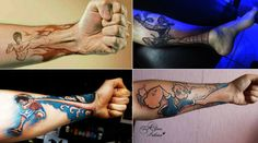 Awesome tattoos. Popeyes tattoo, Bruce Lee tattoo, One piece tattoo, and Street fighter tattoo