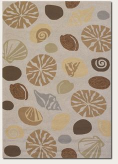 8x11 Designer Tropical Coastal Beach Sea Shells Beige Indoor Outdoor Area Rug #RugIsland #Tropical