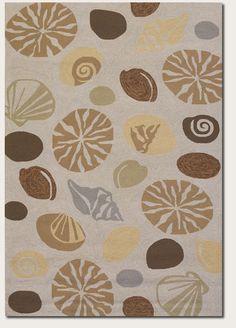 8x11 Designer Tropical Coastal Beach Sea Shells Beige Indoor Outdoor Area Rug #RugIsland #Tropical