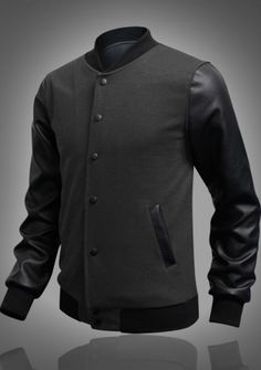 TOPs Casual PU Leather Men s Slim Fit Baseball Sweaters jackets Outerwears  Coats fbc303a906b8