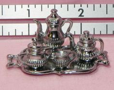 Dollhouse Miniature Tea Set on Tray Silver Metal 1:12 Scale #Handley