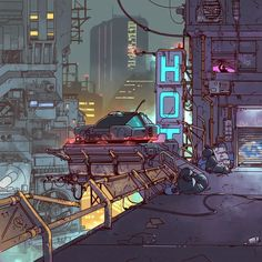 Image Painting, Painting & Drawing, Endless Night, Human Settlement, Future City, Blade Runner, Traditional Art, Concept Cars
