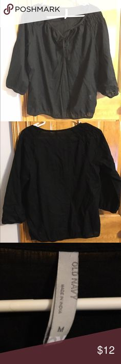 Black Shirt Black shirt with ties Old Navy Tops Blouses