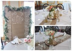 rustic tables and centerpieces burlap lace - Google Search