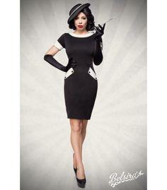 f095dfd474a6 Vintage-Kleid - AT50097 - FashionMoon Vintage-Kleid aus elastischem Jersey  mit konstrastierendem Kragen