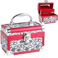 Aluminum Vintage 2 Layers Luggage Suitcase Design Shining Sequin Adorned Jewelry Casket Storage Box - Heart Patterns