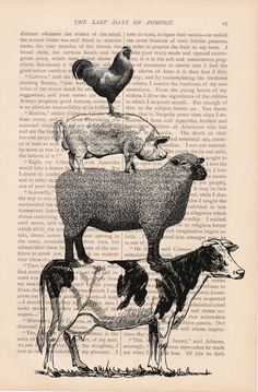 dictionary art vintage stacked FARM ANIMALS no by ExLibrisJournals, $7.00