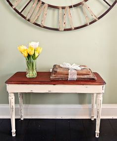 diy table from a piano bench