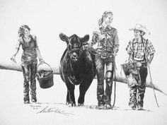 Showing cattle is all about family stincking together!! <3    I LOVE THIS!!!!! I need to get one. The is Lindsey, Catherine and Travis.