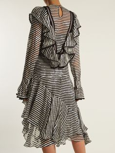 Corin ruffle-trimmed striped silk-devoré dress | Preen By Thornton Bregazzi | MATCHESFASHION.COM FR