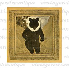 Bear in Winter Coat Graphic Image Digital Antique Animal Printable Download Vintage Clip Art. Printable high quality digital image graphic. This digital artwork can be used for making prints, fabric transfers, pillows, tea towels, and many other uses. This graphic is large and high quality, size 8½ x 11 inches. Transparent background PNG version included.