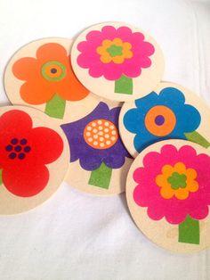 Laurids Lonborg 60s rare set of 6 coasters. Mid century modern danish design. Al and Lena Eklund