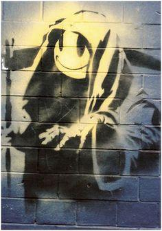 Banksy Smiley Grim Reaper Graffiti – Shoreditch, London