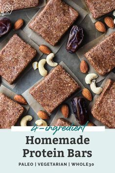 These homemade protein bars require just 4 ingredients–made like the approved RXBAR using egg white protein, almonds, cashews and dates. Paleo Protein Bars, Protein Cake, Protein Powder Recipes, Protein Cookies, High Protein Recipes, Protein Snacks, Protein Muffins, Vegetarian Protein, Healthy Recipes