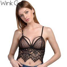 67c1cec5f86a2 Wink Gal Sexy Mesh Tops For Women Female Underwear Lingerie Strappy  Bralette Lace Bra 2735