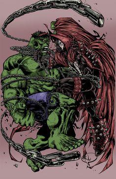 #Hulk #Fan #Art. (Spawn vs Hulk) By: PokerGambit. [THANK U 4 PINNING!!]