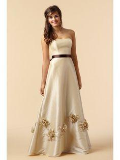 Taffeta Strapless Floor-Length A-line Bridesmaid Dress