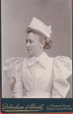 +~+~ Antique Photograph ~+~+ Southampton Nurse in a delightfully flouncy uniform late 1890's.