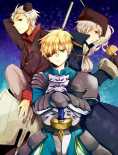 """The Bad Brothers Trio! I think._. Looking all cool and stuff with their weapons, forgetting all about their little bros ^^""""..."""