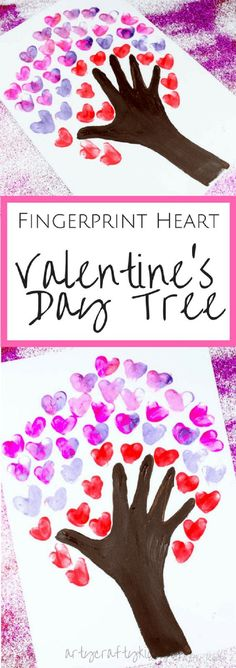Fingerprint Heart Valentines Day Tree - 11 Pretty Little Valentine's Day Crafts for Both Kids and Adults #valentinesday #valentinesgift