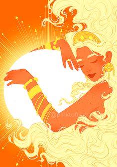 """""""Godess of the sun"""" - Art print Art And Illustration, Illustrations, Kunst Inspo, Art Inspo, Fantasy Kunst, Fantasy Art, Sun Painting, Sun Art, Art Plastique"""