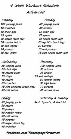4 Week Workout Schedule - Advanced