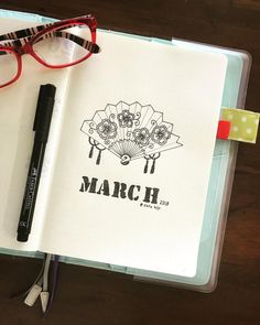 Bullet journal monthly cover page, March cover page, fan drawing. | @sarie.bujo