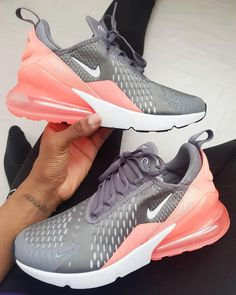Nike Air Max 270 – Gunsmoke / Atomic Pink - Best of pins!Nike Air Max 270 - the Gunsmoke Colorway combines the right colors for the .Running Shoes Youth Size 3 Running Shoes For BoysClarks Shoes, Boot styles And A Lot More for People Sneakers Mode, Best Sneakers, Sneakers Fashion, Nike Sneakers, Sneakers Style, Grey Sneakers, Pink Nike Shoes, Pink Nikes, Cute Shoes