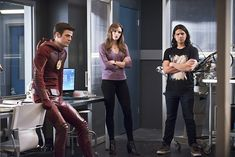 "The Flash -- ""Versus Zoom"" -- Image: FLA218b_0193b.jpg -- Pictured: Grant Gustin as Barry Allen, Danielle Panabaker as Caitlin Snow and Carlos Valdes as Cisco Ramon -- Photo: Diyah Pera/The CW -- © 2016 The CW Network, LLC. All rights reserved.  Read more at http://www.comingsoon.net/tv/news/671837-its-flash-versus-zoom-dawn-of-speed-force-in-new-photos#EgTAUBHxCQFeEyt1.99"