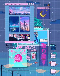 Digital Doodles by Seerlight. Ronald Kuang is an illustrator doing digital doodles and Continue Reading and for more doodles → View Website Doodles Kawaii, Art Kawaii, Cute Kawaii Drawings, Anime Scenery Wallpaper, Aesthetic Pastel Wallpaper, Aesthetic Backgrounds, Aesthetic Wallpapers, Art Vaporwave, Vaporwave Anime