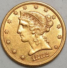 1882 $5 Gold Liberty Head Half Eagle-About Uncirculated-Wow! AU FIVE $