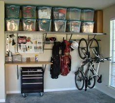 What Type of Garage Organization Tips Can Help You Out? : Easy Garage Organization Tips. Easy garage organization tips. Organisation Hacks, Garage Organization Tips, Storage Hacks, Storage Bins, Organizing Ideas, Workshop Organization, Storage Systems, Organising, Storage Room