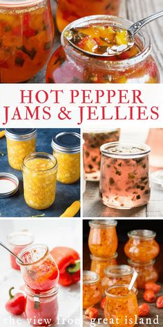 My Favorite Hot Pepper Jelly Recipes is part of My Favorite Hot Pepper Jelly Recipes The View From Great Island - My favorite hot pepper jelly recipes ~ sweet and tangy hot pepper jam and jelly is the best appetizer ever, and so easy to make! Pepper Jelly Recipes, Hot Pepper Jelly, Jalapeno Recipes, Habenero Pepper Jelly Recipe, Bacon Recipes, Mango Habanero Jelly Recipe, Hot Jelly Recipe, Kitchens, Gastronomia