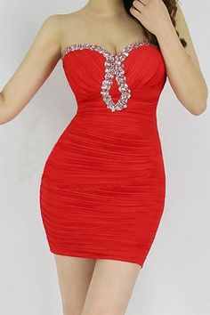 Sexy Style Low Cut Diamonds Dress for your valentine at dresslily.com