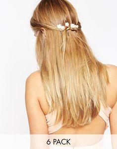 Image 1 ofASOS Pack of 6 Mini Paper Rose Hair Clips