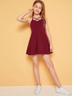 To find out about the Girls Crisscross Front Slip Flare Dress at SHEIN IN, part of our latestGirls Dresses ready to shop online today! Dresses Kids Girl, Cute Girl Outfits, Kids Outfits Girls, Cute Casual Outfits, Cute Dresses, Cute Outfits For Kids, Preteen Girls Fashion, Girls Fashion Clothes, Teen Fashion Outfits