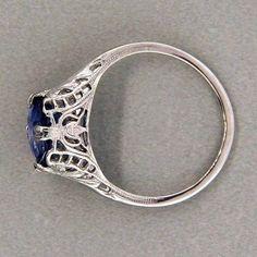 14K Gold art deco vintage Solitaire Engagement Ring   Natural Sapphire EW EHS