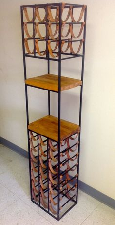 Vintage Mid Century Danish Modern Umanoff 30 Bottle Cast Iron Leather and Wood Wine Rack by FunkyFindsOfOhio - $899.99