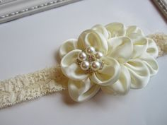 Ivory Cream Headband Pearl Rhinestone -  Photo Prop - Newborn Infant Baby Toddler Girls Adult Wedding. $9.00, via Etsy.