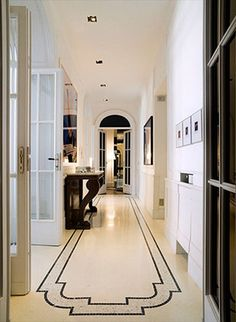 Love the tiling on the floors with the black accent ~'Grand Mansions, Castles & Luxury Homes