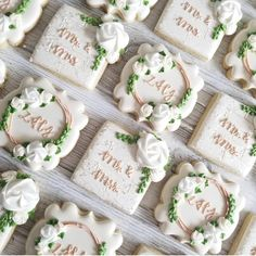 Seriously stunning cookies from Wedding Shower Cookies, Wedding Cake Cookies, Cookie Wedding Favors, Wedding Desserts, Bridal Gifts For Bride, Engagement Cookies, Anniversary Cookies, Flower Cookies, Bridal Shower Rustic