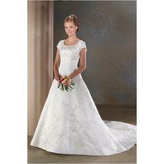 Scoop Neckline Brocade Embroidered Beaded Wedding Dress