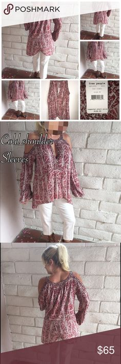 Free People cold shoulder blouse Red combo cold shoulder Free People blouse. Size medium. Could also fit large for a tighter fit. Butterfly open bottom on back. NWT Free People Tops Blouses